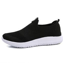 Women's Mesh Cloth Running Socks Sneaker Breathable Sports Shoes Black,37