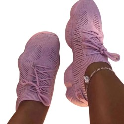 Women's Mesh Sneakers Athletic Outdoor Lace Up Breathable Shoes Pink,36