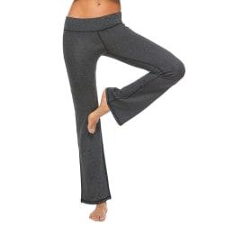 Women's mid-rise yoga pants wide-leg stretch flared pants Black,XL
