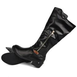 Women's Mid-Tube Boots Heel Booties  Round Toe Zipper Pocket Black,43