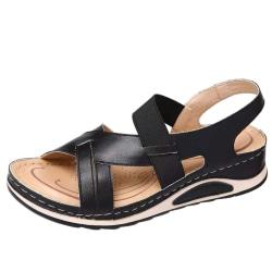 Women's Outdoor Viscose Shoes Hollow Open Toe Sandals Slip In Black,41