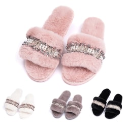 Women's Pearls Fur Slippers Slides Flat Mules Home Indoor Shoes Black,38-39