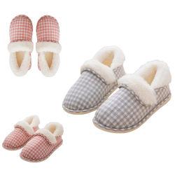 Women's Plaid Printed Stuffed Slippers Warmer Floor Indoor Shoes Gray,35/36
