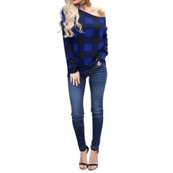 Women's Plaid Pullover Long Sleeve Shirt Casual Top Shirt Blue,L