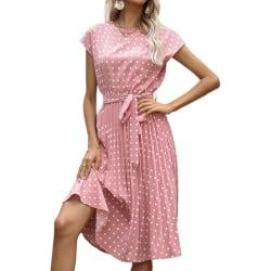 Women's Polka Dot Short Sleeve Dress Summer Beach A-Line Skirt Pink,XL