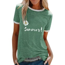 Women's printed T-shirt round neck casual loose top summer Green,XL