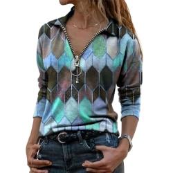 Kvinnors geometriska tryckta T-shirt Top Långärmad Casual tröja Blue,S