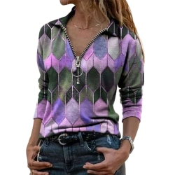 Women's Printed T-shirt Top Long Sleeve Loose Casual T-shirt Purple,XXL