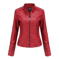 Women's PU leather jacket zipper Motorcycle Jacket red,XXL