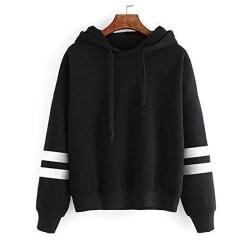 Women's pullover loose hooded sweatshirt top Black,L