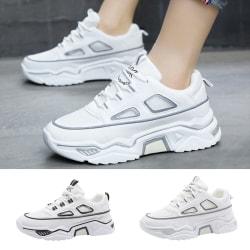 Women's Sneakers Platform Training Fitness Walking Shoes Slip-On Black,39