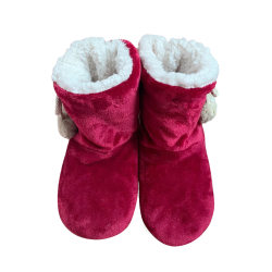 Women's Soft Soled Slippers Plush Warmer Indoor Home Ankle Boots Red,39-41