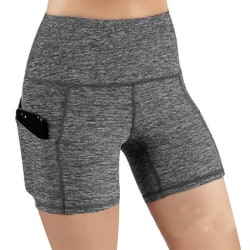 Women's solid sports shorts yoga casual fitness tights grey,XXL