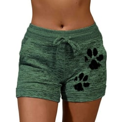 Women's Sports Cat's Paw Printed Hot Pants Casual Running Shorts Green,3XL
