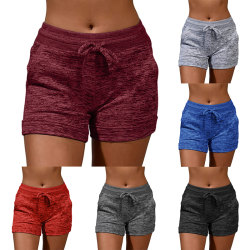 Women's sports shorts casual beach running shorts Red wine,XL