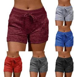 Women's sports shorts casual beach running shorts Red wine,XL