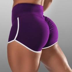 Women's Sports Yoga Shorts Casual Jogging High Waist Hot Pants purple,4XL