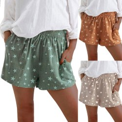 Women's Star Printed Shorts High Waist Elastic Waist Hot Pants Green,3XL