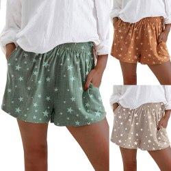 Women's Star Printed Shorts High Waist Elastic Waist Hot Pants Green,3XL