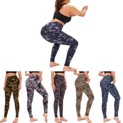Women's tights high waist Yoga Pants exercise pants Yellow green camouflage,M