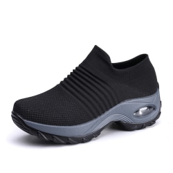 Women's Trainers Air Cushion Breathable Sneakers Running Shoes Black,40