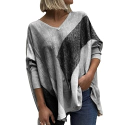 Women's V-neck top Pullover casual top T-shirt Gray,XL
