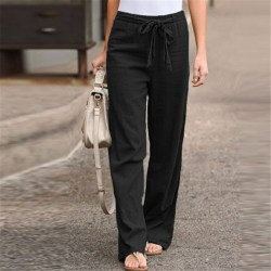 Women's Wide Leg Pants Casual Elastic Waist Yoga Sweatpants Black,3XL