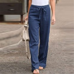 Women's Wide Leg Pants Casual Elastic Waist Yoga Sweatpants Blue,M