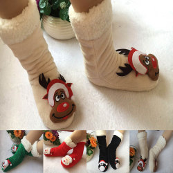 Women's Winter Slippers Socks Thermal Snowflake Fleece Lining white,36-40