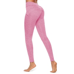 Women's Yoga Pants Breathable Sports Scrunch Stretch Trousers Pink,L