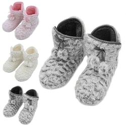 Women Slippers Indoor Floor Shoes Ankle Boots Warm Anti-Slip Gray,40/41