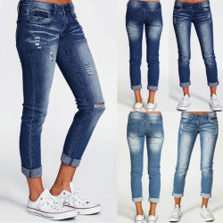 Women stretch jeans classic pencil pants casual stretch trousers Navy blue,3XL