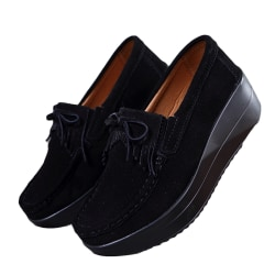Women Tassels Loafers Platform Moccasins Casual Shoes Slip On black,37