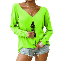 Women V-neck Long Sleeve Printed T-shirt Pullover Top Plus Size Green,5XL