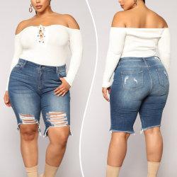 Women Vintage High Waist Stretch Ripped Jeans Shorts Hotpants Blue,XXL