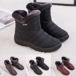 Women Waterproof Snow Fur Lined Ankle Boots Winter Warmer Black,41