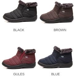 Women Winter Snow Waterproof Ankle Boot Casual Anti-Slip Booties Blue,37