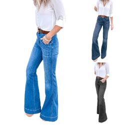 Womens Mid Waist Jeans Flared Denim Bell Wide Leg Pants Trousers Blue Green,M