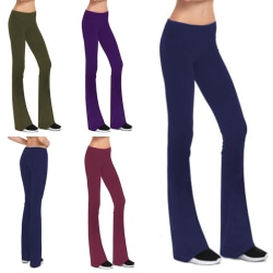 Womens sports leisure wide leg yoga pants fitness pants purple,XXL