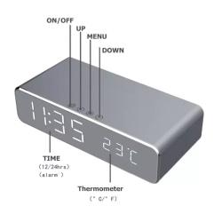 Smart LED väckarklocka med trådlös laddning och termometer Silver