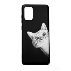 Samsung Galaxy s20fe skal med kattmotiv, nyfiken katt - svart