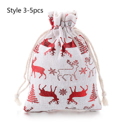 1/5pcs Jute Gift Bags Merry Christmas Drawstring Pouch STYLE