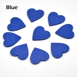 100pcs 18mm Wooden Chips Hearts Shaped Confetti Slices BLUE blue