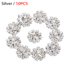 10st Snowflake Flower Buttons Rhinestone Buckle SILVER 10PCS