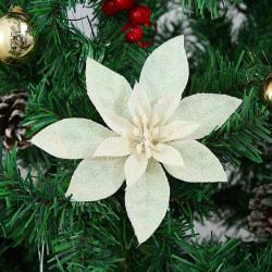 10X 9/15cm Poinsettia Glitter Flower Christmas Flowers WHITE