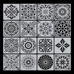 16st / set Layering Stencil Scrapbooking Mandala Auxiliary