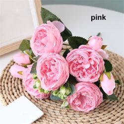 30cm 9 head Artificial Flowers  Silk Peony  Rose bouquet PINK