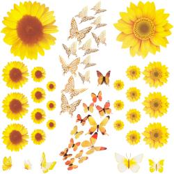 51st solros väggdekaler med 3D fjäril gula blommor