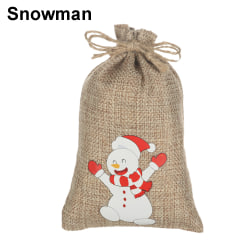 5PCS Christmas Gift Bags Drawstring Sacks Candy Pouch SNOWMAN