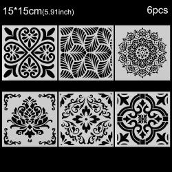 6st / uppsättning Mandala Stencil Set Gör möbler målningskort